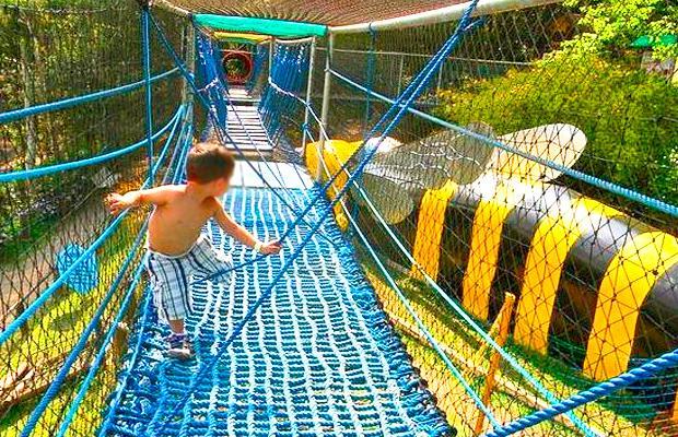 criança brincando em uma ponte de cordas