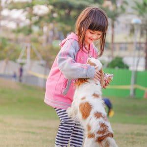 criança brincando com um cachorro