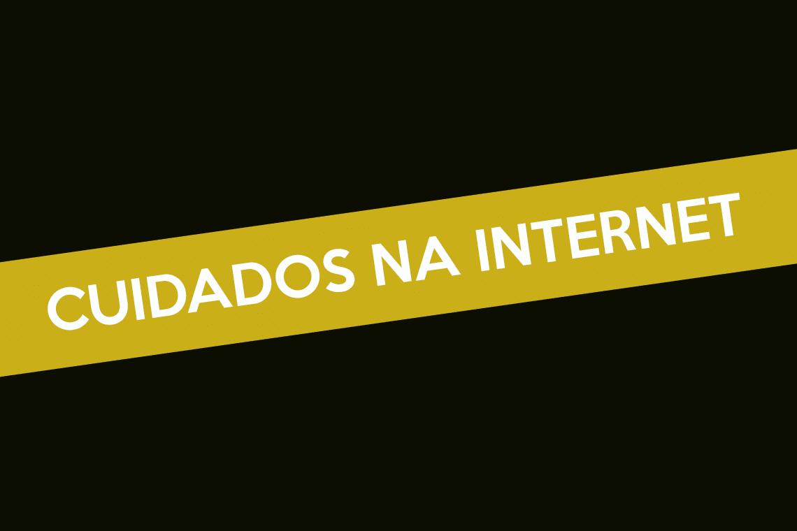 banner com escrito cuidados na internet