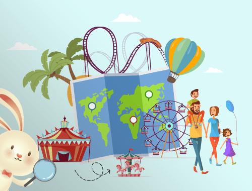 desenho de montanha russa, circo e balão, com uma família