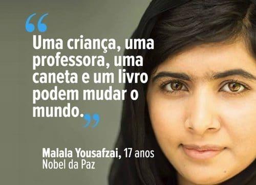 foto de mulher que recebeu o premio nobel da paz, malala