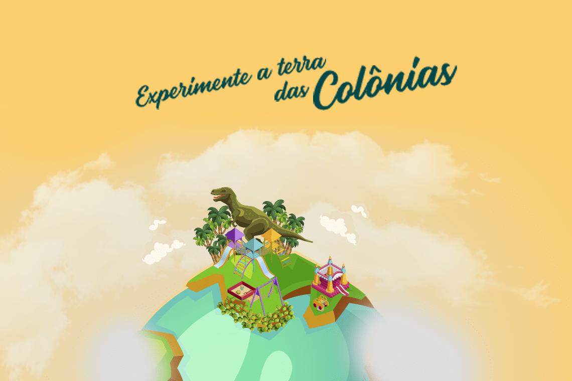 banner de desenho sobre terra das colônias